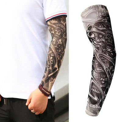 2x Homme Manche Manchette Bras Collant Faux Tatouage Tatoo Extension Sleeve Rock