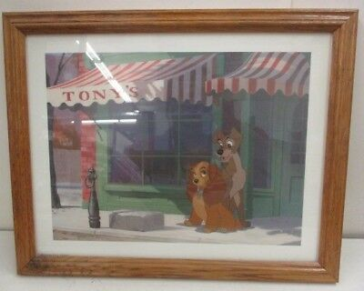 Disney Lady and the Tramp Framed Art Print in Wood Frame.