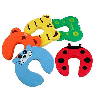 Baby Room Door Stoppers Finger Protective Foam Guard Lovely Jammer 5PC Random