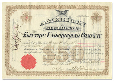 American Sectional Electric Underground Company Stock Certificate (Rare)