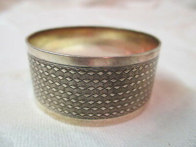 Antique Sterling silver Napkin Ring monogram GH hammered wave pattern