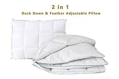 Luxury Duck Feather Down Pillow Adjustable Comfortable Soft Natural 100% Cotton