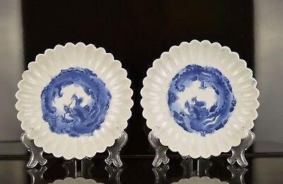 A Superb Pair Of Japanese Edo Period B&w Chrysanthenum Dishes With Dragons