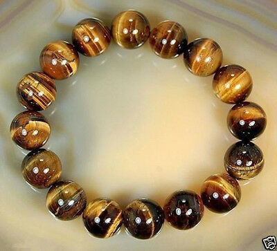 Natural 10mm African Tiger's Eye Gem Beads Bracelet