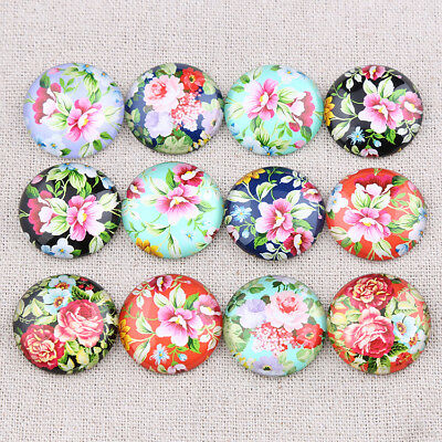 New Flatback Cameo Mixed Roses Flower Glass Round Cabochon 10-25mm DIY jewelries