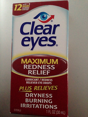 CLEAR EYES MAXIMUM REDNESS RELIEF EYE DROPS BURNING DRYNESS 30ml 1 fl.oz.