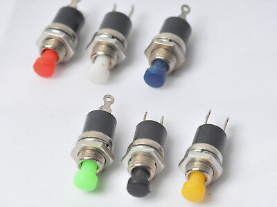 SPST push button switch Push To Break or Make Red Yellow Green Blue Black White