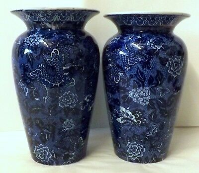 "Shelley ""Blue Dragon"" Flow Blue Pair of Vases Circa 1910, Butterflies & Flowers"