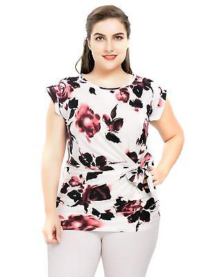 6a93b25dc3d Chicwe Women's Plus Size Stretch Floral Rose Printed Casual Top Blouse with