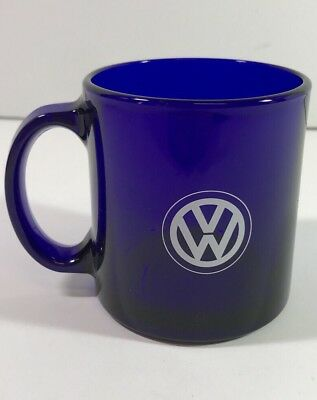 Volkswagen VW Solid Blue Glass Coffee Mug Cup Made in USA