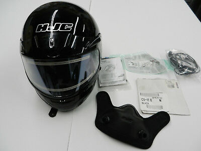 Used HJC black helmet with electric double lens shield size Medium