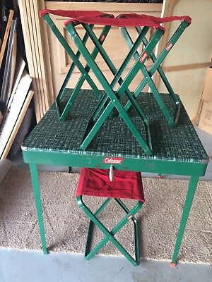 Vintage 1953 Rare Coleman Camping Folding Table And Stools Good