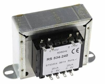 RS Pro 50VA 2 Output Chassis Mounting Transformer, 6V ac