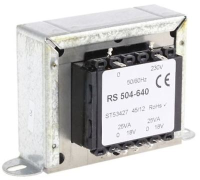RS Pro 50VA 2 Output Chassis Mounting Transformer, 18V ac
