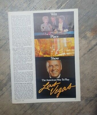 1989 print ad-The American Way to Play-Win-Place-Show-Frank Sinatra-Las Vegas