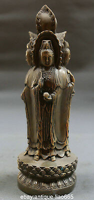 """9.4""""Antique Old Chinese Bronze Buddhism Four Sides Kwan-yin Goddess Stand Statue"""