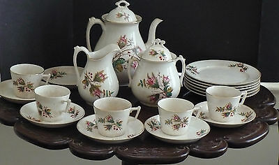 Lovely 20 pc+2 Lids Imperial Warranted China C.1800 Ironstone Moss Rose Rare