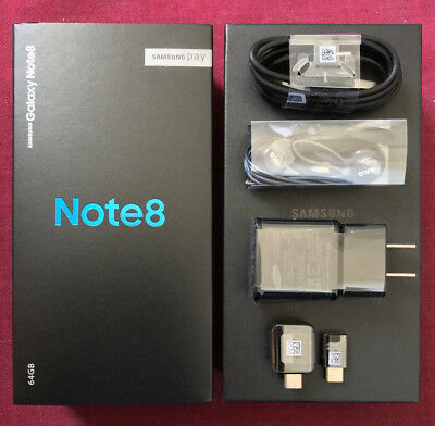 Samsung Galaxy Note 8- Empty Box with Full Set Accessories Charger Cable Earbuds