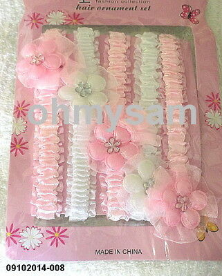 10 New Pastel Multi Color Fancy Baby Girl Elastic Soft Headband / Flower Bow