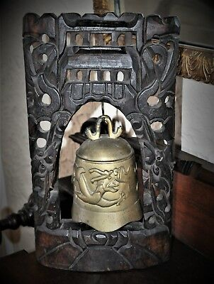 Antique Early 1900's Chinese Brass Dragon Bell With Hand Carved Rosewood Stand