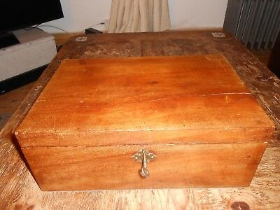 Antique mahogany writing slope with side drawer and swan neck brass handles key