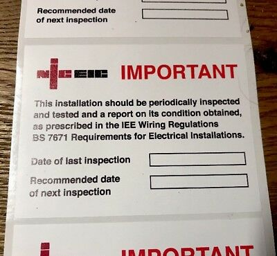 Next Inspection Periodic Test Labels/Stickers NICEIC 100x75mm X 20