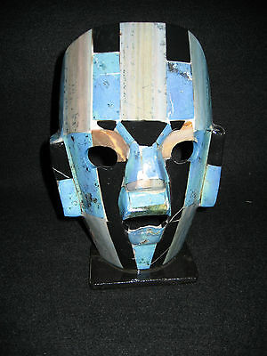 "Vintage Mayan Soapstone & Black Onyx Mask Hand Crafted 7 3/4"" High Burial Mask"