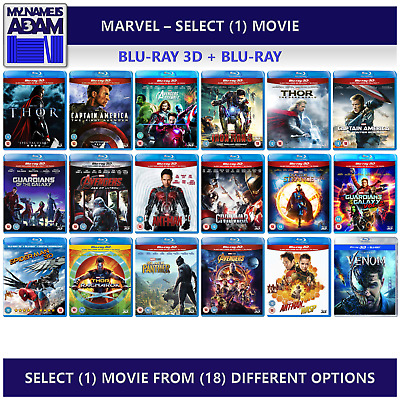 [MARVEL] __ SELECT (1) MOVIE FROM (18) OPTIONS __ Blu-ray 3D + 2D (REGION-FREE)