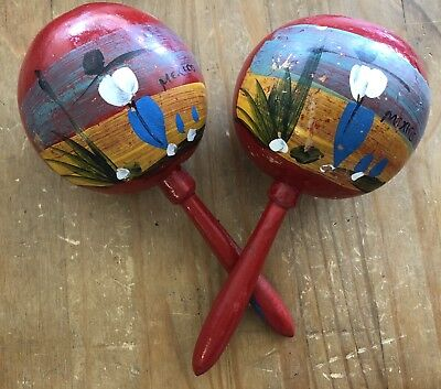 Pair of Vintage Handmade RED Mexican Maracas - Hand Painted