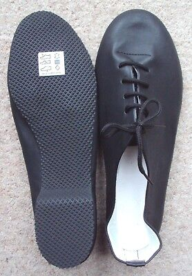 Jazz Shoes Adult Size 9 Black Leather Full Sole Dance Stage Musical Theatre NEW