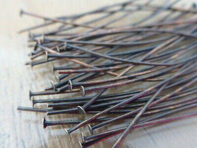 50 x 5cm Brass Headpins Red Copper Colour Jewellery Making Findings Pins  (FFC4)