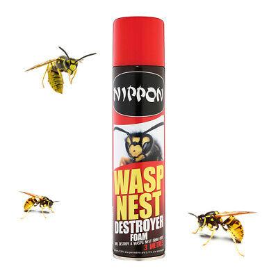 Nippon Wasp Nest Destroyer Foam 300ml Killer Aerosol Spray Destroy From 3 Metres