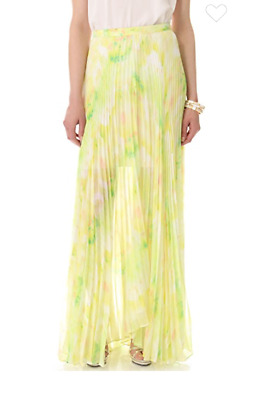 a4515529a8 alice + olivia Shannon Pleated Maxi Skirt In Citrus Tie Dye Sz 0 Retail  $484.00