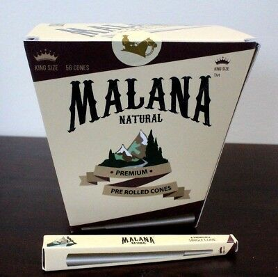 Malana PRE-Rolled Cones~King Size 56 Count~Natural Brown~Bulk~Cigarette Papers
