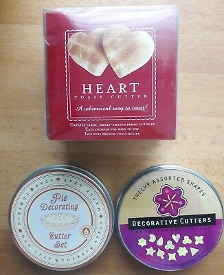 Lot of Williams Sonoma Pie Crust Cookie Pastry Cutters Metal Heart Leaf Shapes