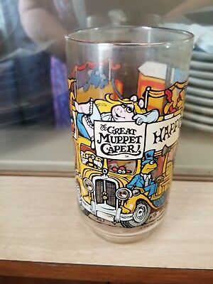 """Great Muppets Caper Clear Glass Jim Henson McDonald's 1981 """"Happiness Hotel"""""""