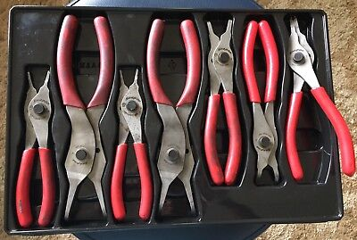 Snap On 7 Peice Retaining Ring Pliers Set SRPC107A Red Vinyl Grips