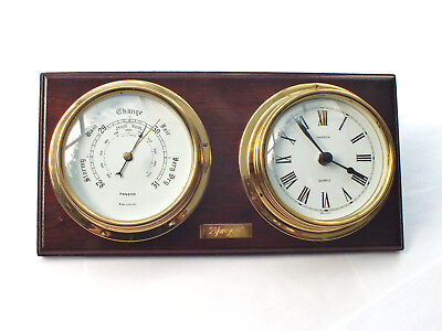 HANSON  NAUTICAL  Style   BAROMETER  &  CLOCK  on wooden  plaque