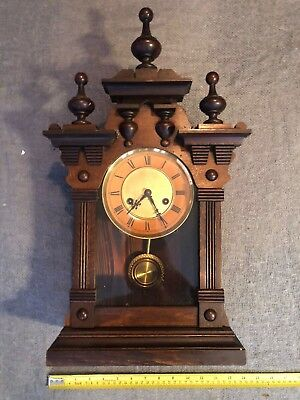 Original Rare Antique Gothic Working Wooden Cased Mantle Clock c1880