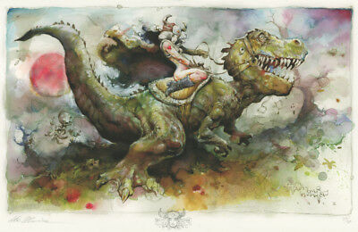 DINO RIDER Signed PRINT by Steve Mannion with original art pencil sketch on it!