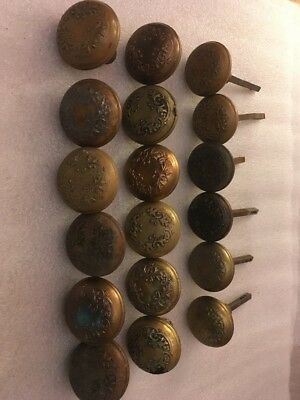 Lot #327 Brass Stamped Knobs Flowered Ornate Designs Vintage Hardware