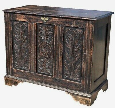 Large Antique 18th Century Carved Oak Coffer - Chest - Blanket Box