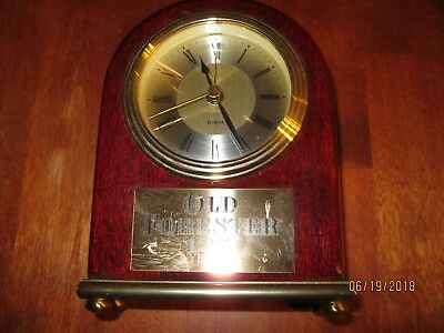 """RARE OLD FORESTER WHISKEY 125 YEARS DESK QUARTZ Clock 5 1/2"""" TALL 4"""" WIDE"""