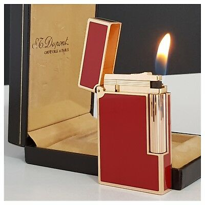 Briquet gaz * St Dupont L2 laque rouge + box * Lighter-Feuerzeug-Accendino-