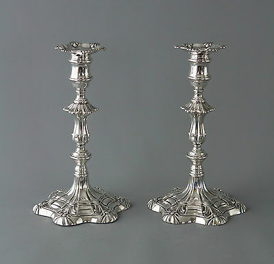 A Very Good Pair of Silver Table Candlesticks Sheffield 1839
