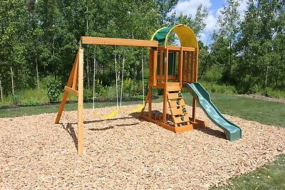Kidkraft Wooden Swing Set High Rail Wave Slide Rock Wall