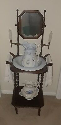 Vintage Victorian Wooden Wash Basin Bowl & Stand With Mirror & 2 Pitchers.