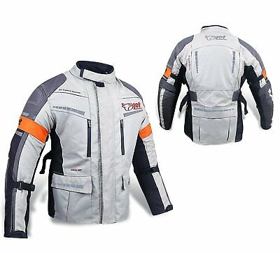 JET Mens Motorbike Jacket, Silver/Grey Textile Waterproof CE Armoured (Medium)