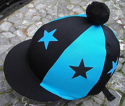 Lycra Hat Silk Skull cap Cover BLACK & TURQUOISE * STARS With OR w/o Pompom