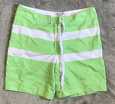 d99f506bb1 Abercrombie & Fitch Swim Trunks Board Shorts Lime Green White Stripe Men's  Large